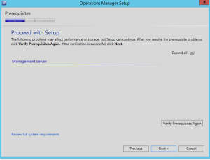 operations manager proceed with setup