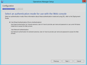 scom authentication mode