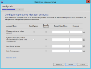 scom manager accounts
