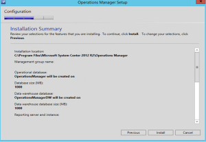 scom manager setup summary