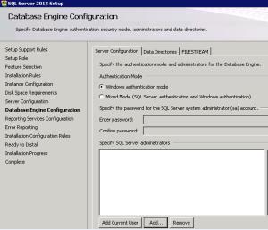 SQL Database Engine Configuration