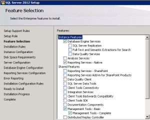 SQL feature selection